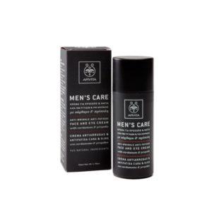 Apivita Men's care Ενυδατικό Kρέμα κατά των ρυτίδων για προσωπο & μάτια με κάρδαμο & πρόπολη