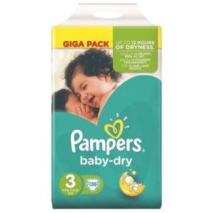 Pampers Πάνες Baby-Dry Μέγεθος 3 (Midi) 4-9Kg 136 Πάνες